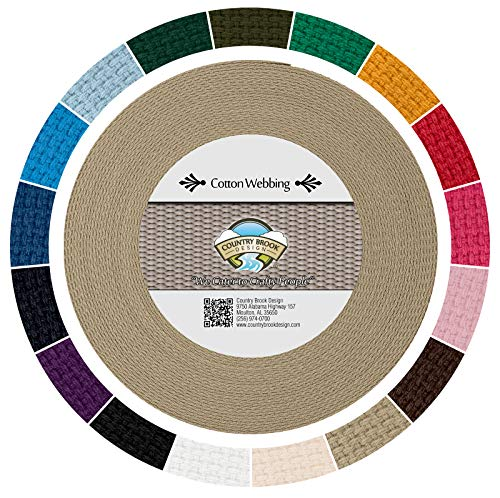 (Country Brook Design - Camel Heavy Cotton Webbing with 17 Vibrant Color Options (1 Inch, 10 Yards))