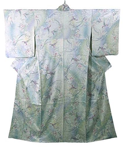 法律により翻訳者明確にリサイクル 着物 小紋 花模様 正絹 袷 裄65.5cm 身丈160cm