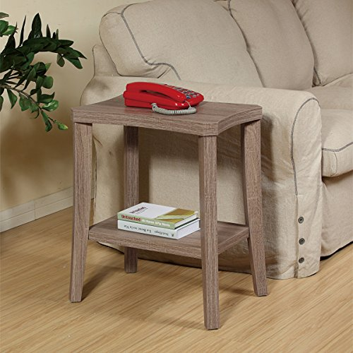14x20x24 Curved Chairside End Table with Rustic Grey Oak Woodgrain Finish - Set your lamp, newspaper, or favorite books out on this table in your living room or reading nook - Curved, Grey