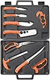 RUKO RUK0131 Wild For Game Processing Set with Orange Handles/Hard Nylon Case & Cutting Board (11 Piece)