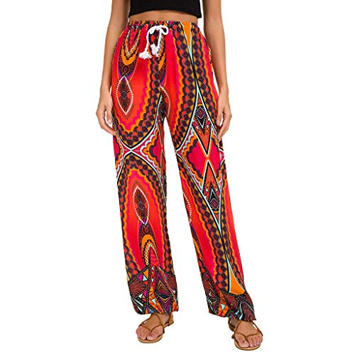 JOFOW Pants Wide Leg Womens Ethnic Boho Floral Flowers Print Aladdin Loose Pajamas High Waist Swing Casual Yoga Long Trousers (XL,Red)