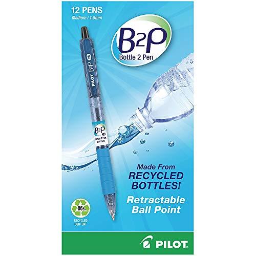 Pilot B2PBottle to Pen Retractable Ballpoint Pens, Medium Point, 1.0 mm, 86% Recycled, Translucent Blue Barrels, Black Ink, Pack of 12