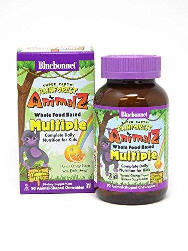 Bluebonnet Super Earth Rainforest Animalz Multiple Chewable, Orange, 90 Count