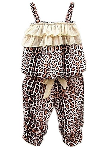Leopard Print Silk Dress (Baby Girls Summer Clothes Leopard Vest+pants Sets Outfits 2pcs (2-3 Years))