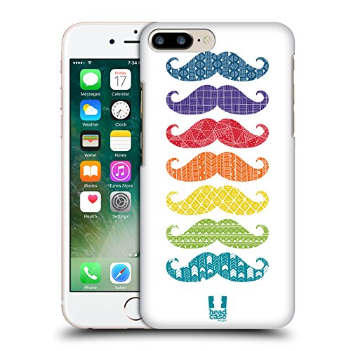 Head Case Designs Scarabocchi Baffi Arcobaleno Cover Retro Rigida per Apple iPhone 7 Plus / 8 Plus