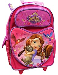 Full Size Pink Sophia the First Lots of Hugs Rolling Backpack Luggage