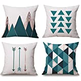 Modern Simple Geometric Style Soft Linen Burlap Square Throw Pillow Covers, 18 x 18 Inches, Set of 4 (Green)
