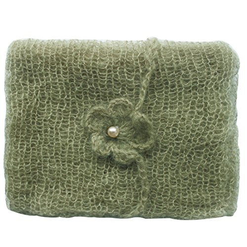 FEESHOW Newborn Baby Soft Mohair Wrap Cloth Blanket with Flower Headdress Photo Props Army Green One size