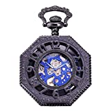 AMPM24 Unisex Mechanical Pocket Watch Black Skeleton With Chain WPK234