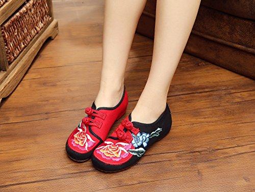 ZLL Gestickte Schuhe, Leinen, Sehnensohle, ethnischer Stil, weibliche Schuhe, Mode, bequeme Abdeckung der Fuß , black , 39