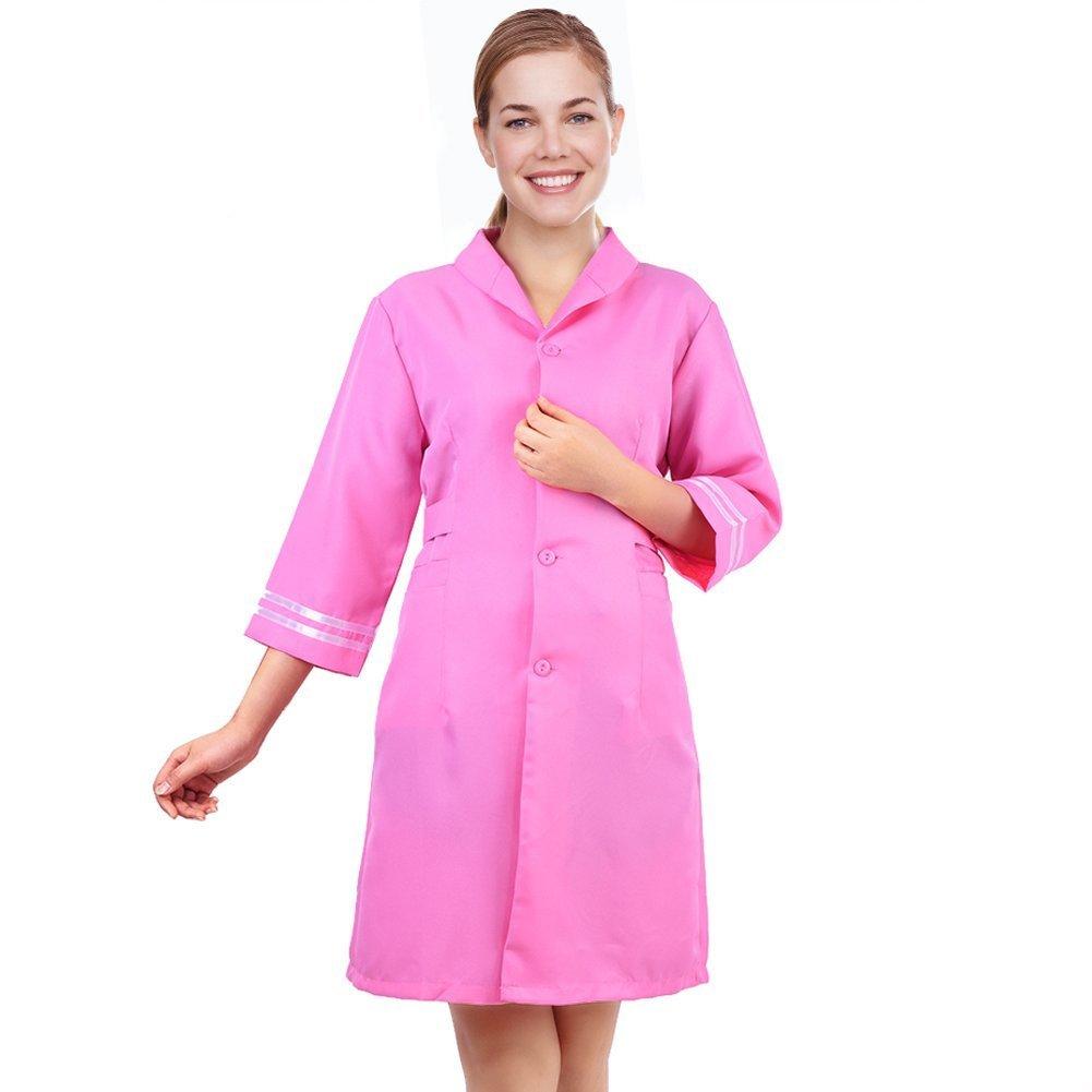 Salon Beautician Workwear Uniform, Ladies Beauty Spa Massage Workwear Turn-down Collar Dress(XXL)