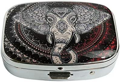 XUTAI Custom Personalized Square Stainless Steel Silver Glass Travel Pill Case Vitamin Decoration Box (Oriental Elephant Head in Mandala Circle)