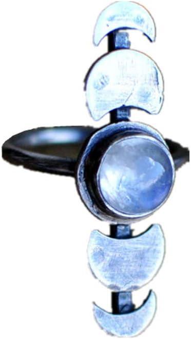 Anillo de piedra lunar de imitación para mujer, diseño retro, color azul claro 10# plata