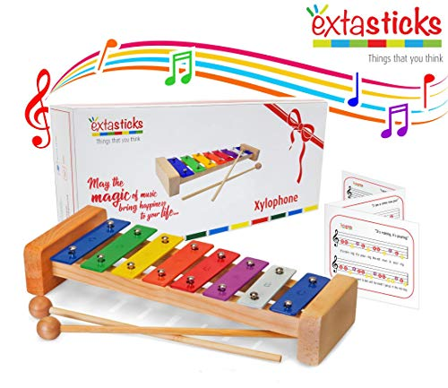 Extasticks Xylophone for Kids - Baby Xylophone with Wooden mallets + Song Book & mesh Bag - Musical Instruments for Toddlers - Music Toys for Children - 100% Non-Toxic