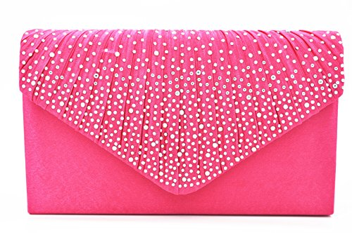 Nodykka Women Evening Envelope Rhinestone Frosted Handbag Party Bridal Clutch Purse Shoulder Cross Body -