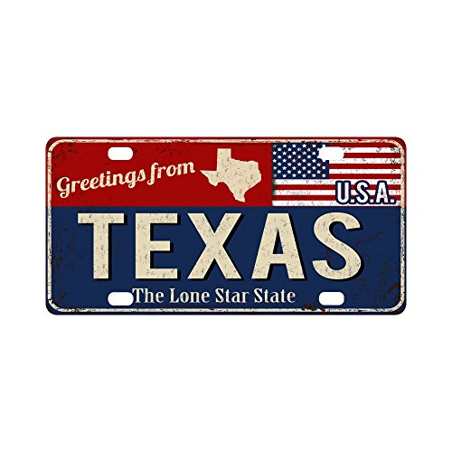 INTERESTPRINT Greetings from Texas Rusty Metal Sign with American Flag Metal License Plates, Car Tag Decoration for Woman Man - 12 x 6 Inch ()
