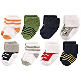 Luvable Friends Unisex 8 Pack Newborn Socks, Boy Athletic, 6-12 Months