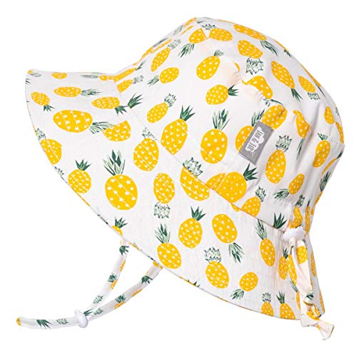 (JAN & JUL Newborn Infant Baby Girl Boy Cotton Bucket Sun Hat 50 UPF Protection, Adjustable Good Fit, Stay-on Tie (S: 0-6m, Yellow Pineapple))