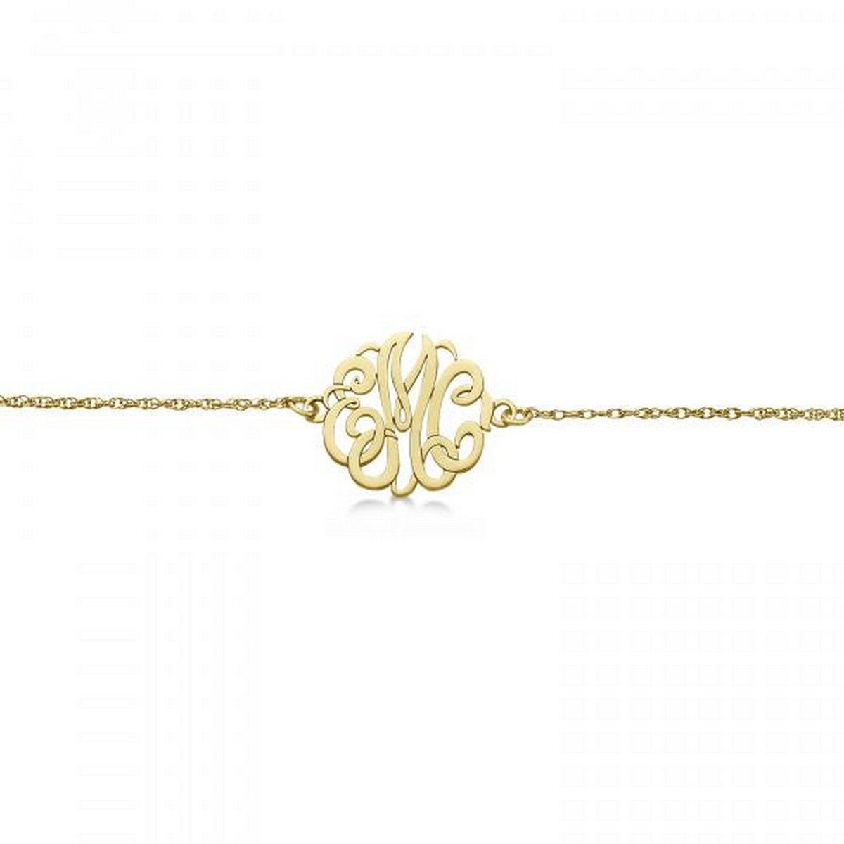 14k Gold Hand-Made Personalized Calligraphy Font Three-Initial Monogram Chain Bracelet in