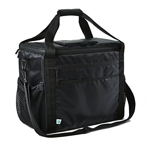 (Fit & Fresh Insulated Extra Large Soft Cooler, 30-Can Capacity, Adjustable Shoulder Strap, Zipper Closure, Leak Proof Lining, Adults, Men, Women, Black)