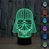 LeaningTech STAR WAR Darth Vader 3D Visualization Bulbling Bedroom Light/ Optical Illusion Atmosphere Desk lamp/ Luminous Transparent Acrylic Glowing LED Table Lamp for Home Bedroom Bedside Decor/Holiday Birthday Gift, Touch-Controled USB-Charging with Plastic Base (20.5*15*0.4)