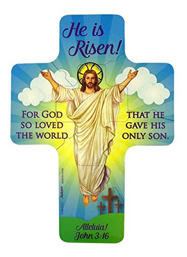 He Is Risen Jesus Christ Easter Cross Puzzle Flexible Magnet 7 Inch