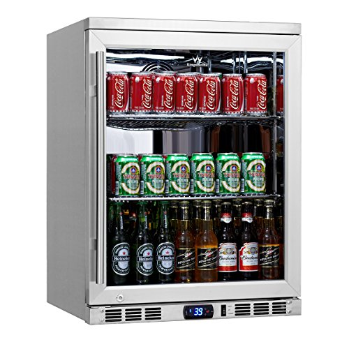 KingsBottle 140 Can 1-Door Under Counter Beverage Cooler with Heating Glass, Stainless Steel - Zone Outdoor Beverage