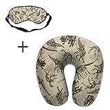 U-Shaped Travel Memory Neck Pillow Antique Dinosaurs Pattern Eye Mask Adjustable-Strap Eyeshade Skin-Friendly Train Sleep