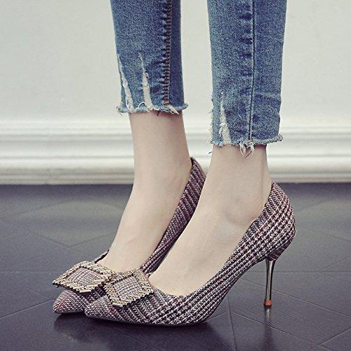 Brown Zapatos La Zapatos Muelle Partido Alto Con Mujer Singles De De El Zapatos Finos Agua De Perforación GAOLIM Para Talón Femeninos x6wzRqxAt