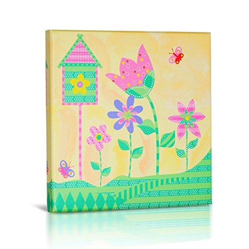 Pretty Pink Spring Garden Art, Canvas Wall Art for Girls