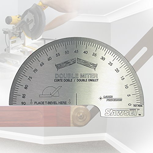 Sawset: The Miter Saw Protractor. Reinvented to Eliminate Math! Designed by Carpenters for Carpenters. Panel Pro Saw
