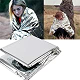 Outdoor Emergency Mylar Survival Thermal Sleeping Blanket Reflective Survival Bags Emergency Ground Cover Reflector Great for Winter Sports Camping Hiking Marathons Ice Fishing Silver