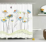 Ambesonne Floral Shower Curtain by, Gardening Theme Daisy Flowers in Spring Illustration Romantic Design, Fabric Bathroom Decor Set with Hooks, 75 Inches Long, Light Yellow Light Blue