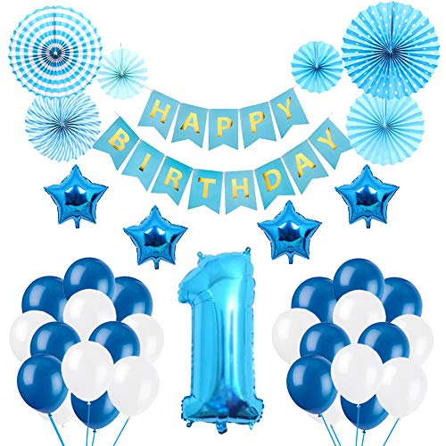 Baby Boy 1st Birthday Decorations, Puchod First Party Supplies 1st Birthday for Little Boy Royal Blue Number 1 Ballon and Star Foil Balloon with Paper Fan