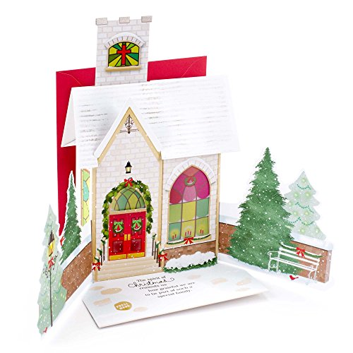Hallmark Christmas Pop Up Card for Family with Light and Song (Displayable Dimensional Church Plays Silent Night) (Family Personalized Cards Christmas)