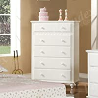 Bedroom Storage Chest with Storage Drawers - White Finish