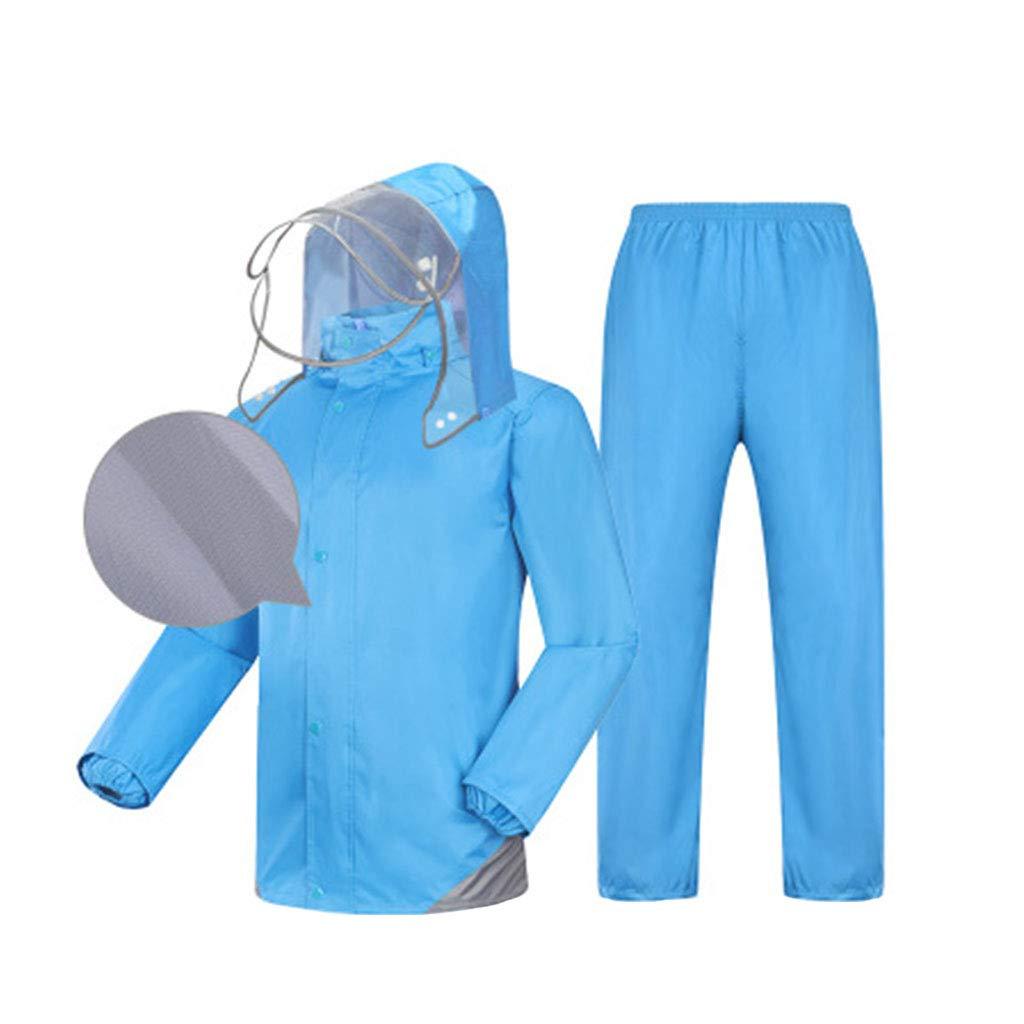 Regenbekleidung Anzug Split-Typ Regenmantel Männer und Frauen (Wasserdichtes Top + atmungsaktive Hose) Regenmantel Set Atmungsaktiver Helm Reflektierender Streifen Doppeltes Futter Wasserdichte Regenb