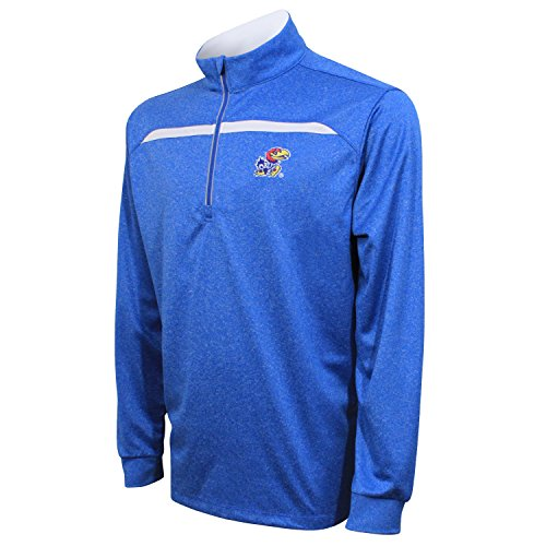 Crable NCAA Kansas Jayhawks Adult Men's Quarter Zip with Contrast Panel, Large, Royal/White