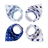 Baby Bandana Drool Bibs,4-Pack Gift Set for Drooling and Teething,Unisex Desi...