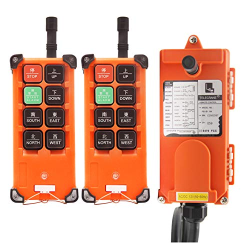 (NEWTRY 12V Wireless Crane Remote Control Double Transmitters Industrial Channel Hoist Crane Transmitter Receiver (F21E1B Transmitter + DC 12V)