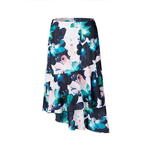 Tronjori Womens A Line Floral Print Skirt Flared Hem (M, Lotus) ()