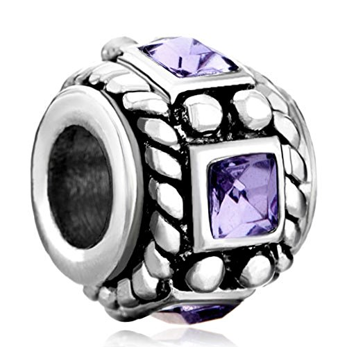 Silver Plated Purple Crystal Charm Sale Cheap Jewelry Beads Fit Pandora Charm Bracelets (Crystal Plated Charm)