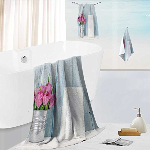 Leighhome 3-Piece Luxury Hotel/Spa 100% Turkish Cotton Striped Towel Set fresh pink tulip flowers bouquet and blank photo frame with copy space on shelf in front of wooden Hand Towels ()