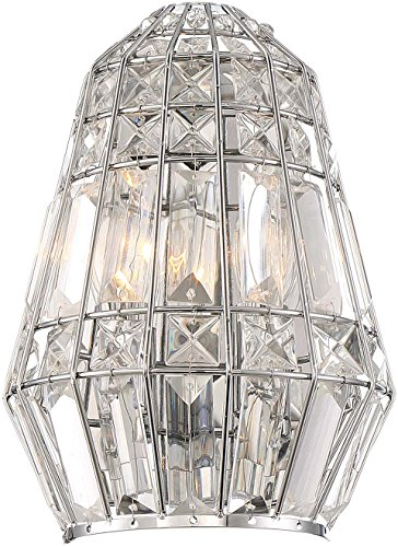 Minka Lavery Chrome Sconce - Minka Lavery Crystal Wall Sconce Lighting 2342-77 Braiden Wall Lamp Fixture, 2-Light 120 Watts, Chrome