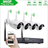 4CH Wireless 960P Network Security Outdoor IP Camera Built-in WIFI Module, 1.3MP High Resolution, Plug and Night Vision Cameras with Motion Detection Alarm &Smartphone Remote