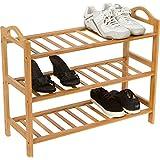 Trademark Innovations Shoe Rack, 3 Shelves, 100-Percent Natural Bamboo