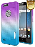 Essential Phone PH-1 Case with [Full Coverage Tempered Glass Screen Protector], NageBee [Frost Clear] [Carbon Fiber] Slim Soft TPU Protective Case For Essential Phone PH-1 (Purple/Blue)