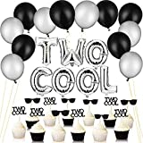 32 Pieces Two Cool Balloons with Two Cool Glitter Second Birthday Cupcake Toppers, 12 Inch Thicken Round Pearlescent Silver and Black Latex Balloons, 2nd Birthday Boy Party Supplies Decoration
