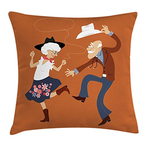 Country Throw Pillow Cushion Cover, Senior Old Couple with Western Costumes Dancing Partying Square Dance Contradance, Decorative Square Accent Pillow Case, 18 X 18 Inches -