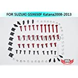 VITCIK Full Fairings Bolt Screw Kits for Suzuki GSX 650F Katana 2008 2009 2010 2011 2012 2013 Motorcycle Fastener CNC Aluminium Clips (Red & Silver)